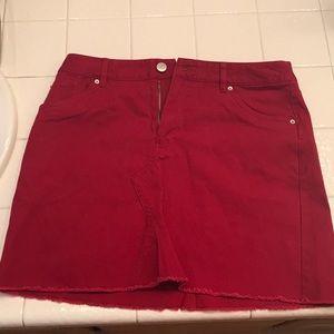 red mini skirt